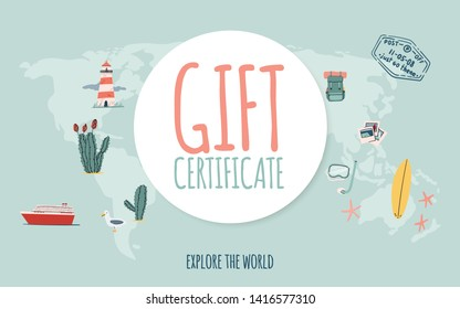 Travel gift certificate. Hand drawn doodle style. Explore the world. Voucher template, banner, shop coupon, flyer etc. Summer vacation. Stock vector