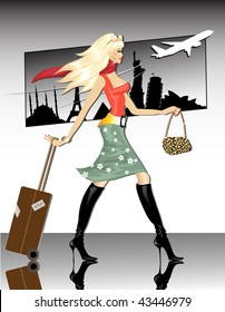 Travel Girl(vector) In the gallery also available jpeg image made from this vector