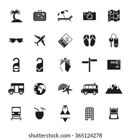 Travel glyph icon set. Collection of solid black tourism and vacation vector symbols