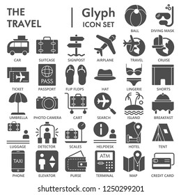 Travel glyph SIGNED icon set, vacation symbols collection, vector sketches, logo illustrations, tourism signs solid pictograms package isolated on white background, eps 10