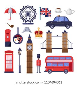 Travel to Great Britain design elements. England and London tourist landmarks, national symbols and food illustration. Vector cartoon isolated icons set.