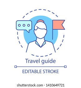 Travel guide concept icon. Traveling idea thin line illustration. Touristic agency service. Trip advisor. City tour, excursion. Vector isolated outline drawing. Editable stroke