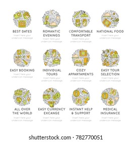 Travel hand draw icons. Icon lined cartoon collection about adventure, outdoor activivies, beach, summer, travelling, get a vacation and extremal sport. Traveling icon set in round form