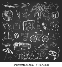 Travel hand drawn doodles vector icons sketch on black chalkboard