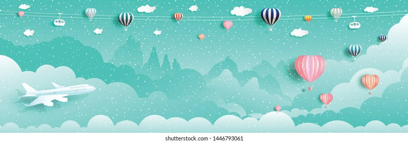 Travel happy new year and christmas with balloons and airplane, Vector illustration for Wallpaper, flyer, invitation, card, posters, postcard, brochure, advertising, Paper cut origami landscape style.