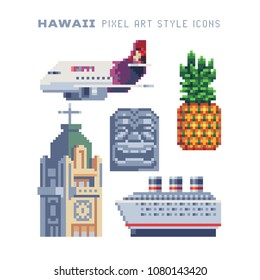 Travel to Hawaii pixel art icon set Part1, airplane, exotic pineapple, cathedral building, tiki tribal mask, Hawaiian landmark, isolated vector illustration. 8-bit. Design for sticker, logo, app