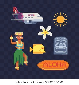 Travel to Hawaii pixel art icon set, airplane, dancing in Hawaiian dress girl character, surfboard with aloha inscription, tiki tribal mask, isolated vector illustration. Design for stickers and logo.