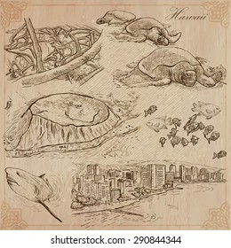 Travel: HAWAII, USA (no.4). Collection of an hand drawn vector illustrations. Freehand sketching. Each drawing comprise layers of lines. Colored background is isolated. Editable in layers and groups.