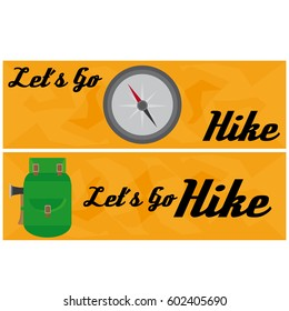Travel And Hike Flat Banner With Backpack And Magnetic Compass
