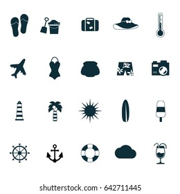 Travel and holiday flat icons. Summer icons set.