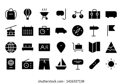 travel & holiday glyph icon symbol set