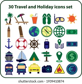 Travel and Holiday icons set