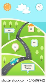 Travel, Holiday, Road Map Infographic Template EPS 10
