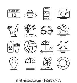 Travel, Holiday, Summer, and Tourism line icons set vector illustration. Beach, Sea, Passport, Sand, Travel, Kite, Umbrela, Summer, Vibes, Hot Sun, 10, Sunday. Pixel perfect. Editable Stroke.