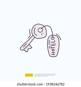 travel holiday tour and vacancy concept vector illustration. hotel key lock doodle fill color icon sign symbol