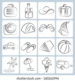 travel, holiday trip icons, pencil line concept