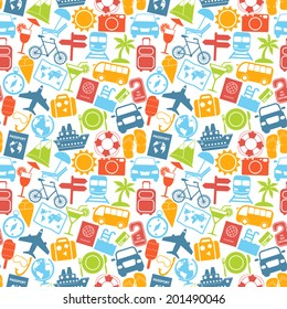 Travel holiday vacation adventure summer sea cruise icons seamless pattern vector illustration.