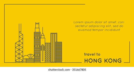 travel to hong kong quote style postcard. line flat modern vector illustration