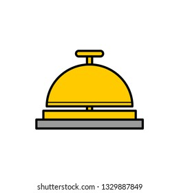 Travel hotel bell service flat vector icon that shows concept such as concierge, reception, assistance, can be use for personal or commercial use