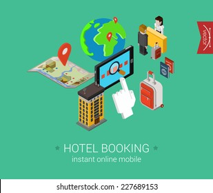 Travel hotel booking flat 3d isometric pixel art modern design concept vector. Search, book, pay for accommodation online, check in, passport, visa. Web banners illustration and website infographics.