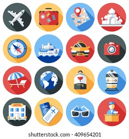 Travel icon flat set in round shapes and isolated on tourist theme elements and attributes for travel vector illustration