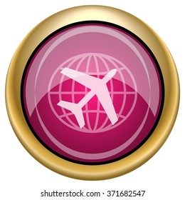 Travel icon. Internet button on white background. EPS10 vector.