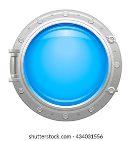 Travel icon with porthole and blue sea water background