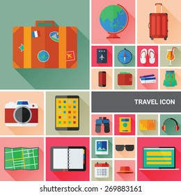 Travel icon set collection with flat and long shadow design