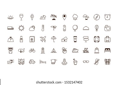Travel icon set design, trip airport vacation tourism journey holiday transport and voyage theme Vector illustration
