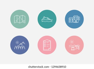 Travel icon set and journey with trip planning, ship cruise and hotel. Destination related travel icon vector for web UI logo design.