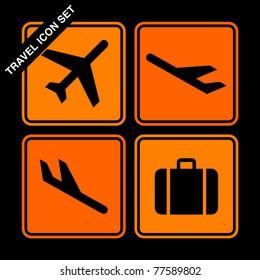 travel icon set on black background
