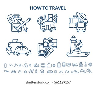 Travel icon set. Vector