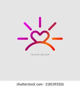 travel icon, sun in shape of heart, dawn, gradient vector love icon