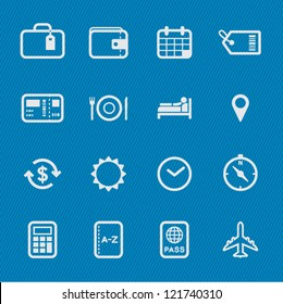 Travel Icons with Blue Background
