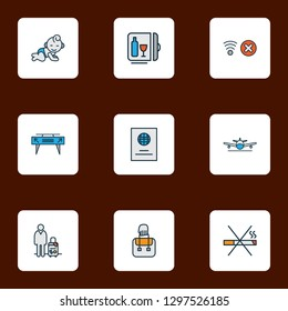 Travel icons colored line set with minibar, passport, baby room and other citizenship elements. Isolated vector illustration travel icons.