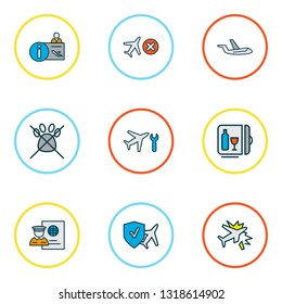 Travel icons colored line set with cancelled flight, aircraft, travel insurance and other airplane repair elements. Isolated vector illustration travel icons.