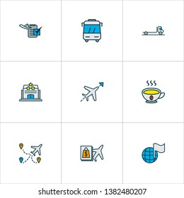 Travel icons colored line set with bus, flight direction, flight date and other plane route elements. Isolated vector illustration travel icons.