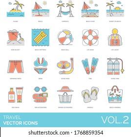 Travel icons including island, hammock, beach chair, sunset, sand bucket, mattress, ball, life saver, jacket, swimming pants, bikini, diving mask, fins, tank, sun cream, accessories, sandals, handbag.