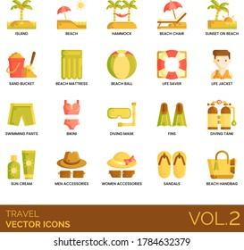 Travel icons including island, hammock, beach chair, sunset, sand bucket, mattress, life saver, jacket, swimming pants, bikini, diving mask, fins, tank, sun cream, men, women accessories, sandals.