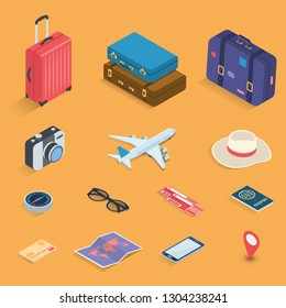 Travel icons in Isometric style. Travel and tourism concept. Vector illustration