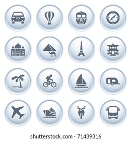 Travel icons on buttons.