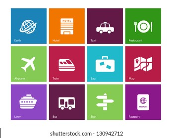 Travel icons on color background. Vector illustration.
