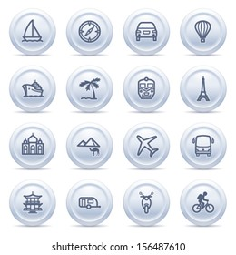Travel icons on gray buttons.