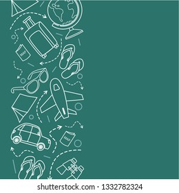 Travel icons on green background. Line drawing illustration. - Vector
