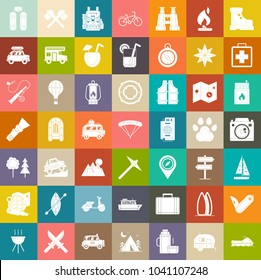 travel icons, outdoor Camping icons set, adventure icons, mountain and picnic icons
