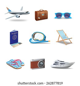 Travel icons realistic set with passport sunglasses snorkeling mask isolated vector illustration