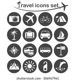 Travel icons set, 16 signs on dark round plates, 2d vector, eps 8