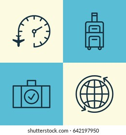 Travel Icons Set. Collection Of Travel Clock, Luggage Scanner, Luggage And Other Elements. Also Includes Symbols Such As Research, Bag, Around.