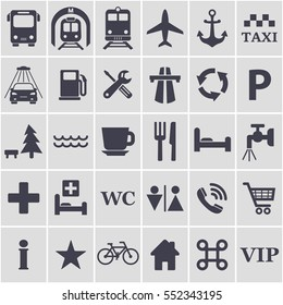 Travel icons set. Different black travel signs for design. Transport location symbol. Vector symbol.