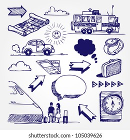 Travel icons set. Hand drawn sketch illustration isolated on white background